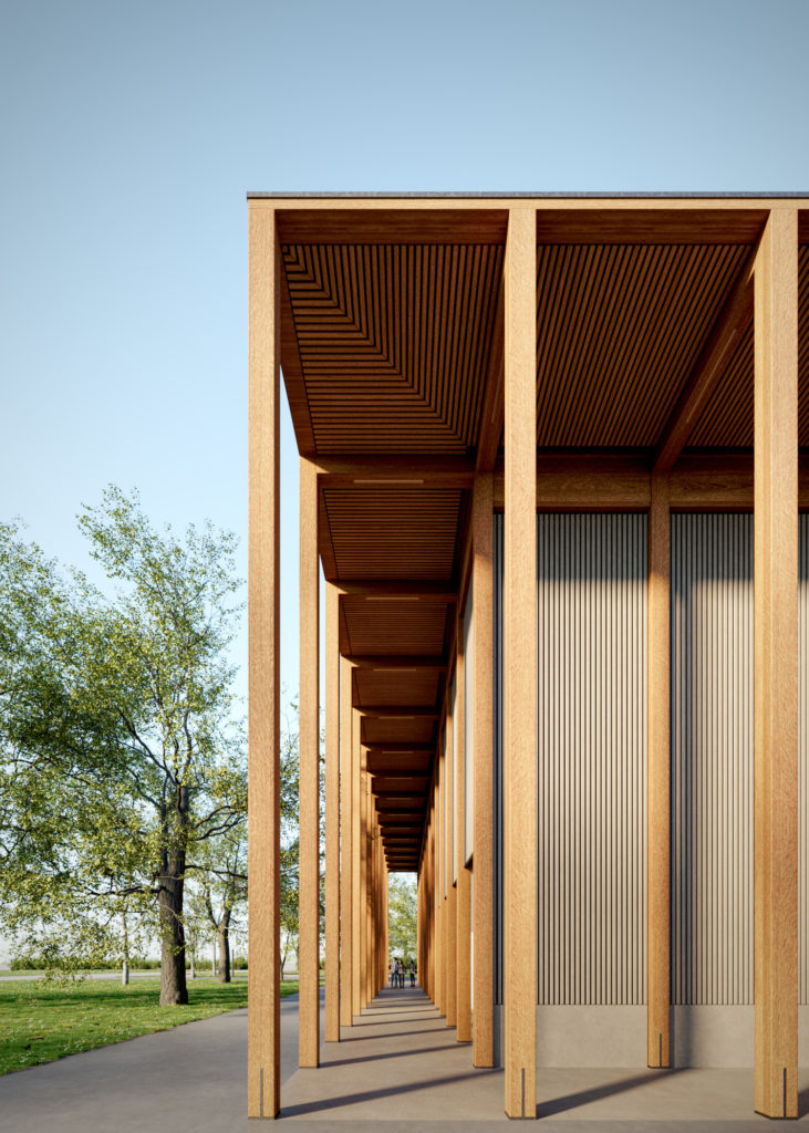 The prefabricated wooden columns can be transported with minimal environmental effect to the site, which is one of the few large green parks near the city centre.