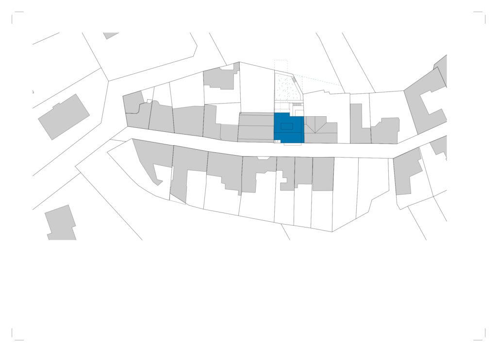 Gül Baba utcai 3 lakásos társasház helyszínrajza.